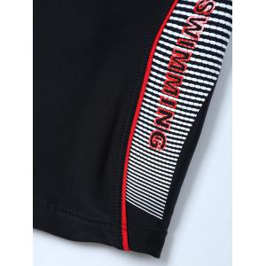 Graphic Contrast Striped Swim Bottom Boyshorts - BLACK 3XL