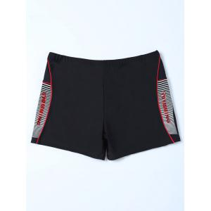 Graphic Contrast Striped Swim Bottom Boyshorts