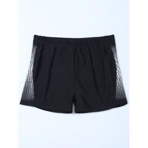 Elastic Waist Printed Swim Boyshorts - Black - 4xl