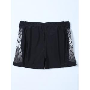 Elastic Waist Printed Swim Boyshorts - BLACK 3XL