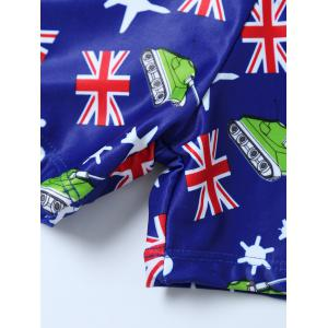 Flag Print Swim Boyshorts with Hat -