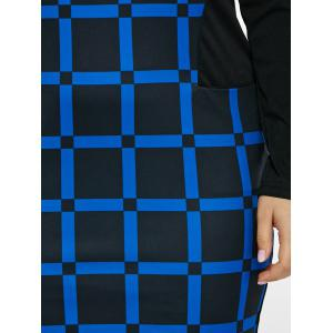 Plus Size Long Sleeve Plaid Dress with Pockets - BLUE 6XL