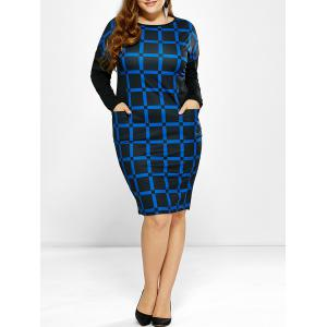 Plus Size Long Sleeve Plaid Dress with Pockets