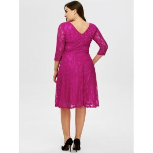Plus Size High Waist Floral Lace Dress - ROSE RED 3XL
