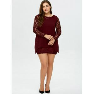 Short Plus Size Lace Sleeve Dress - BURGUNDY 2XL