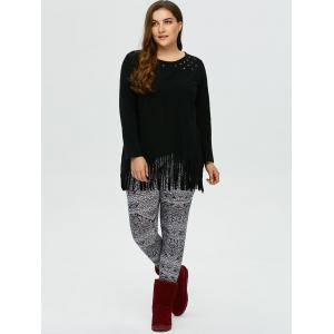 Plus Size Patterned Skinny Pants - WHITE AND BLACK 3XL