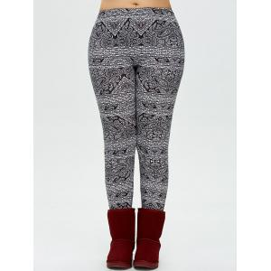 Plus Size Patterned Skinny Pants - White And Black - L