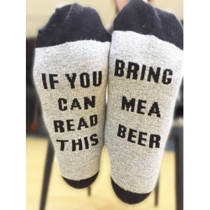 Pair of Letter Graphic Contrast Socks - Black - M