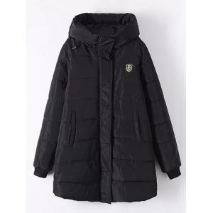 Plus Size Appliqued Hooded Padded Quilted Coat - Black - Xl