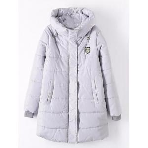 Plus Size Appliqued Hooded Padded Quilted Coat - Light Gray - 3xl