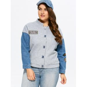 Plus Size Single Breasted Denim Trim Jacket - GRAY 3XL