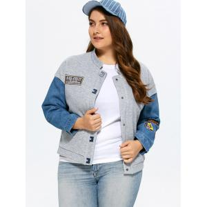Plus Size Single Breasted Denim Trim Jacket -