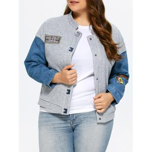 Plus Size Single Breasted Denim Trim Jacket - Gray - Xl