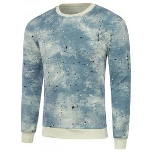 Rib Insert Crew Neck Paint Splatter Sweatshirt