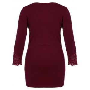 Plus Size Lace Insert Long Sleeve Dress - WINE RED 5XL