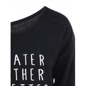 Skew Collar Pullover Sweatshirt with Graphic - BLACK M