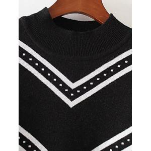 Plus Size Striped Crew Neck Longline Sweater - BLACK 3XL