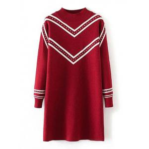 Plus Size Striped Crew Neck Longline Sweater - Red - Xl