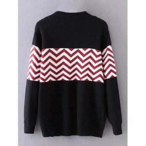 Plus Size Pullover Wave Striped Crew Neck Sweater - BLACK 3XL