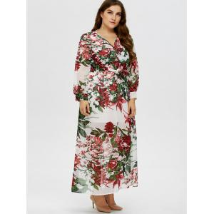 Floral Plus Size V Neck Maxi Dress with Sleeves - WHITE 3XL