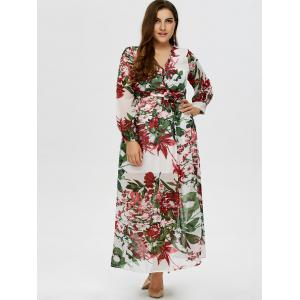 Floral Plus Size V Neck Maxi Dress with Sleeves -