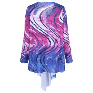Tie Dye Plus Size Asymmetrical Tee - COLORMIX XL