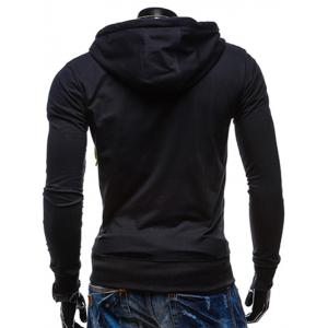 Pocket Front Drawstring Zip Up Hoodie - BLACK 2XL