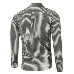 Patched Pleat Back Striped Linen Shirt -