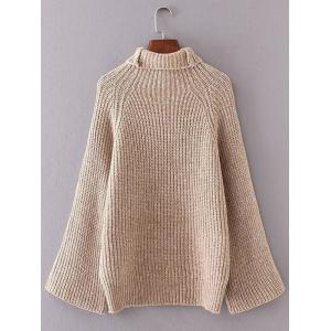Turtleneck Bell Sleeves Ribbed Sweater -