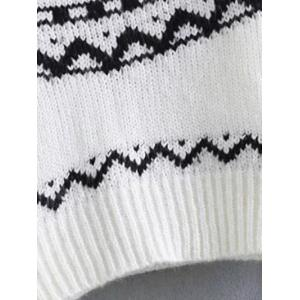 Pullover Crew Neck Tribal Cropped Sweater - WHITE/BLACK L