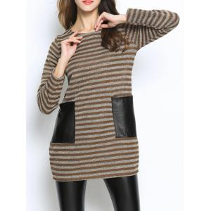 Casual Pocket Inset Striped Oversized Sweater -