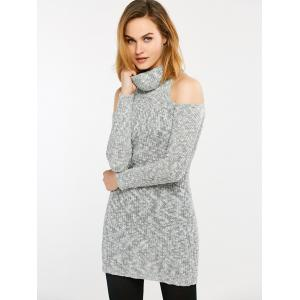 Long Cold Shoulder Turtleneck Tight Sweater - GRAY 2XL