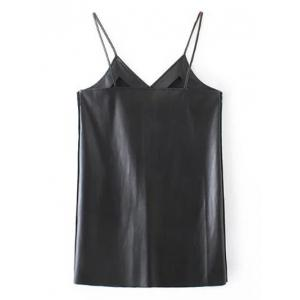 PU Leather Longline Tank Top - BLACK L