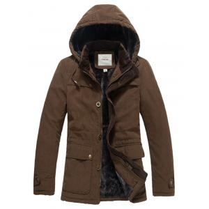 Pocket Zip Up Flocking Hooded Jacket