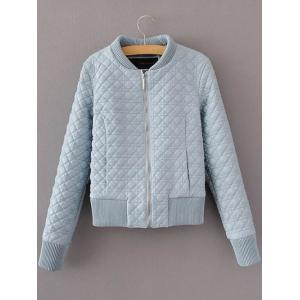 Slim Quilted Fake Leather Bomber Jacket