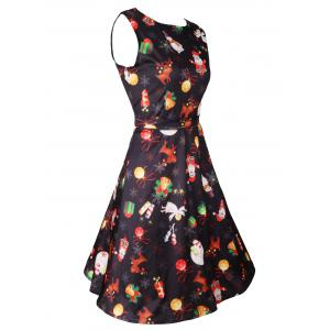 Christmas Print Sleeveless Skater Dress - BLACK 2XL