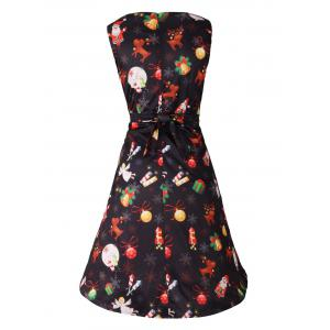Christmas Print Sleeveless Skater Party Dress - BLACK 2XL