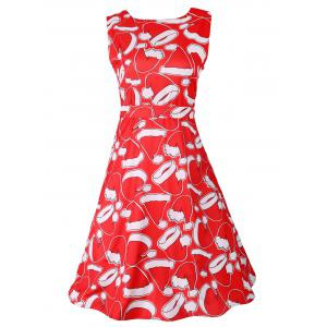 Santa Hat Print Sleeveless Flare Dress - Red - 2xl