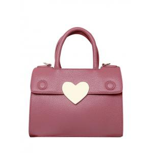 Textured PU Leather Metal Heart Handbag