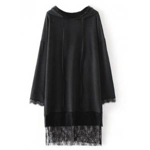 Lace Insert Hooded Dress
