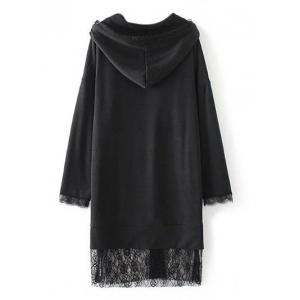 Lace Insert Hooded Dress - BLACK S