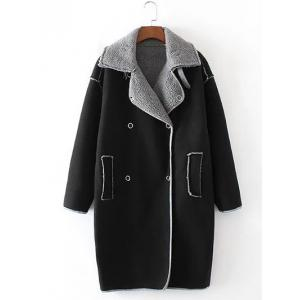 Faux Shearling Panel Suede Cocoon Coat - Black - S