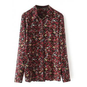 Long Sleeves Flower Print Shirt