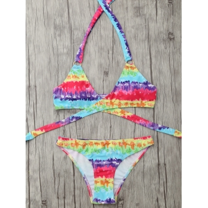 Tie Dyed Halter Neck Wrap Bikini Set