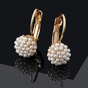 Artificial Pearl Beads Ball Earrings