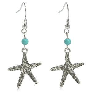 Artificial Turquoise Starfish Earrings - Silver