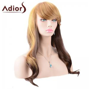Adiors Oblique Bang Color Mixed Body Wave Long Synthetic Wig -