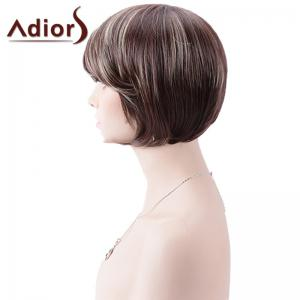 Adiors Short Inclined Bang Highlight Straight Bob Synthetic Wig -