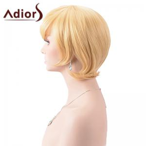 Adiors Short Oblique Bang Silky Straight Synthetic Wig - COLORMIX