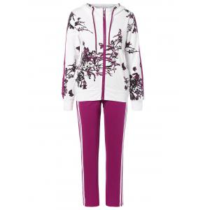 Floral Print Jacket and Striped Pants Twinset - Purplish Red - L
